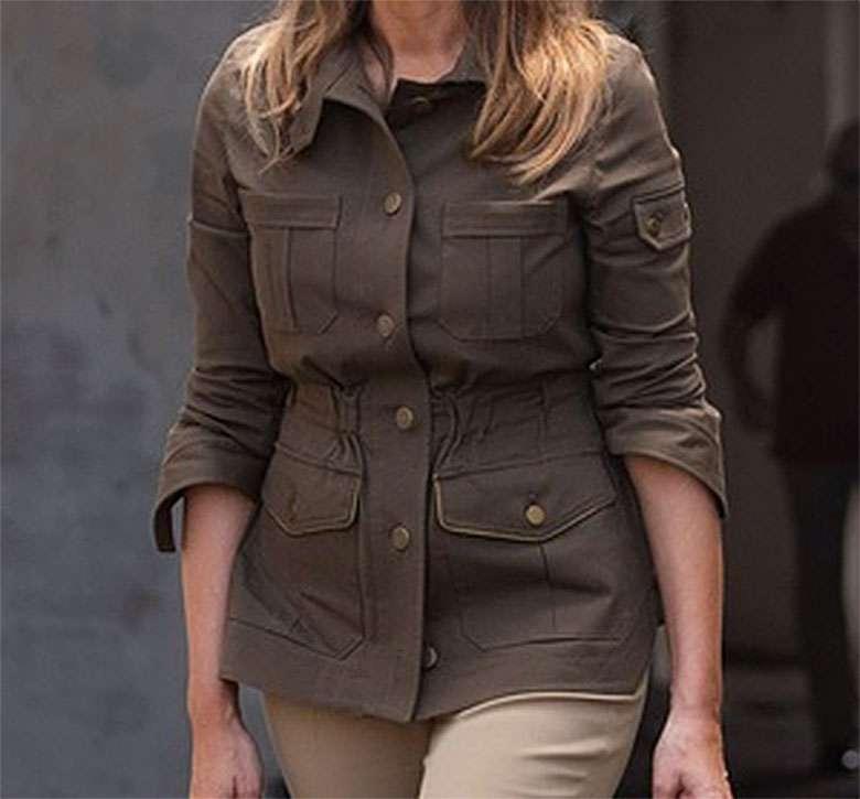 Zdjęcie (5) Melania Trump w płaskich butach i szerokich spodniach! Ryzykowna stylizacja Pierwszej Damy USA