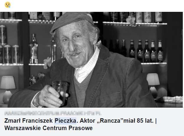 Fałszywy news o śmierci Franciszka Pieczki. Aktor wciąż żyje, 18 stycznia skończył 90 lat