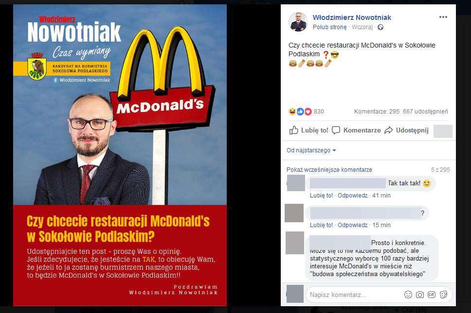 Włodzimierz Nowotniak – plakat wyborczy z McDonalds
