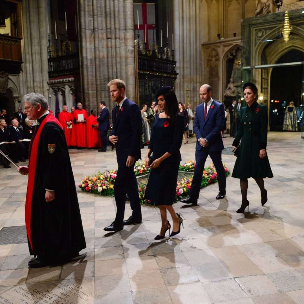 Meghan Markle, książę Harry, księżna Kate i książę William na mszy w Westminster Abbey