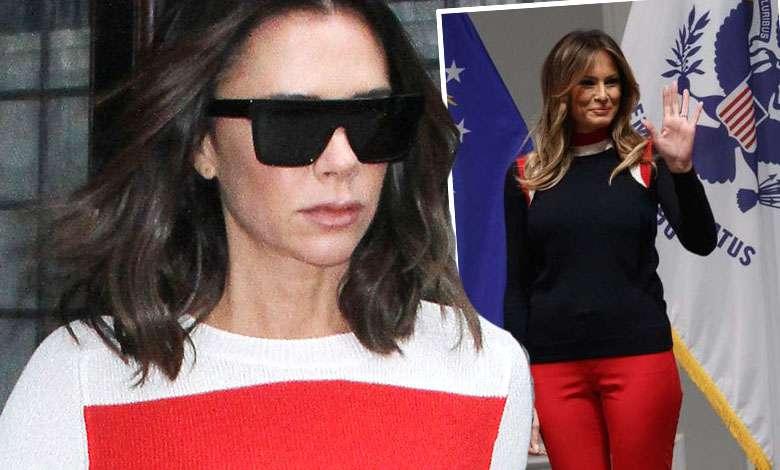 Victoria Beckham w czerwonych spodniach jak Melania Trump
