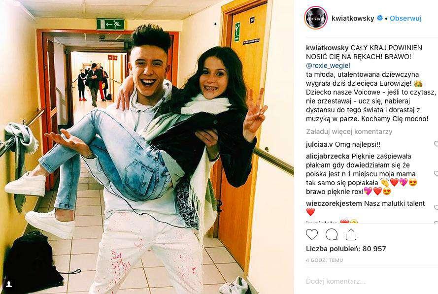 Dawid Kwiatkowski gratuluje Roksanie Węgiel wygranej na Eurowizji Junior 2018