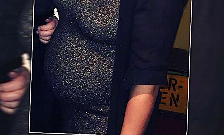 Mahan Moin z dużym ciążowym brzuchem