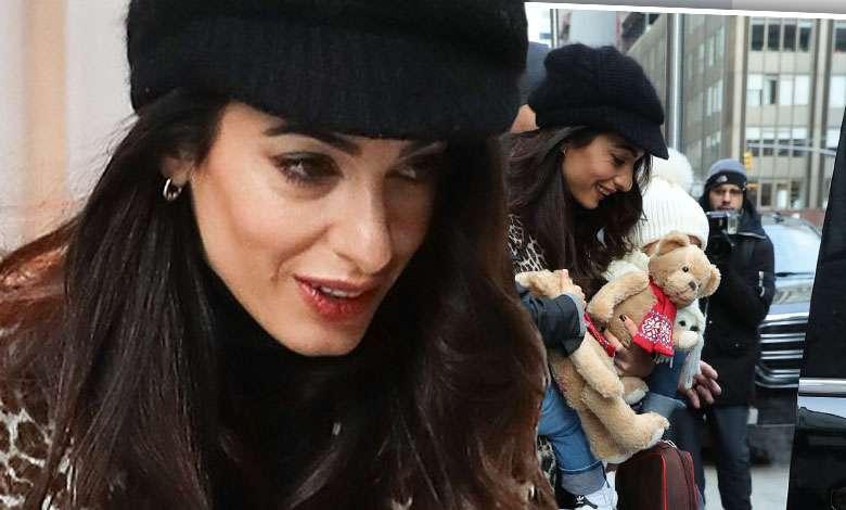Amal Clooney z dziećmi, Ella i Alexandrem, w Nowym Jorku