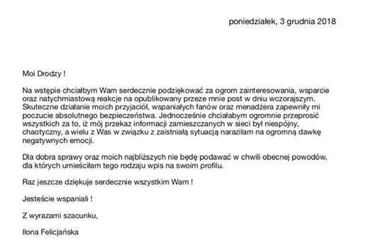 Oświadczenie Ilony Felicjańskiej w sprawie pobicia