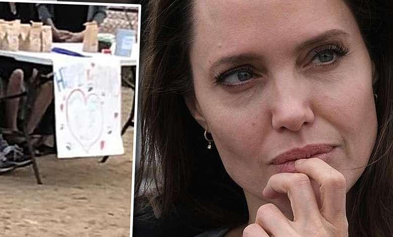 Angelina Jolie dziećmi sprzedaje psie chrupki w parku