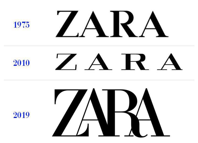 Zara ma nowe logo – na zdjęciu od najstarszego do najnowszego