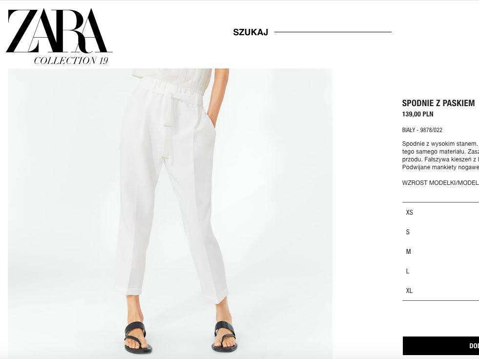 Zara – białe spodnie