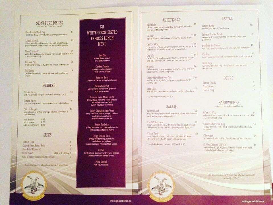 Menu w londyńskiej restauracji Magdy Gessler White Goose Bisto