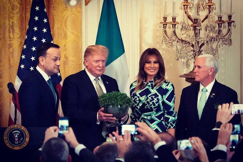 Melania Trump i Donald Trump na spotkaniu z premierem Irlandii