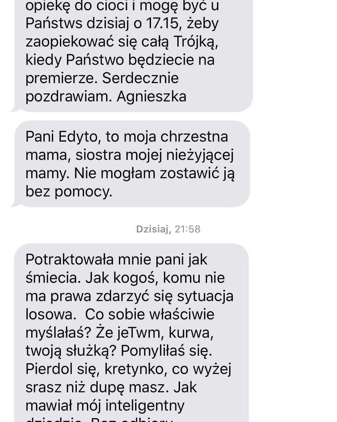 Edyta Pazura publikuje SMS-y od opiekunki