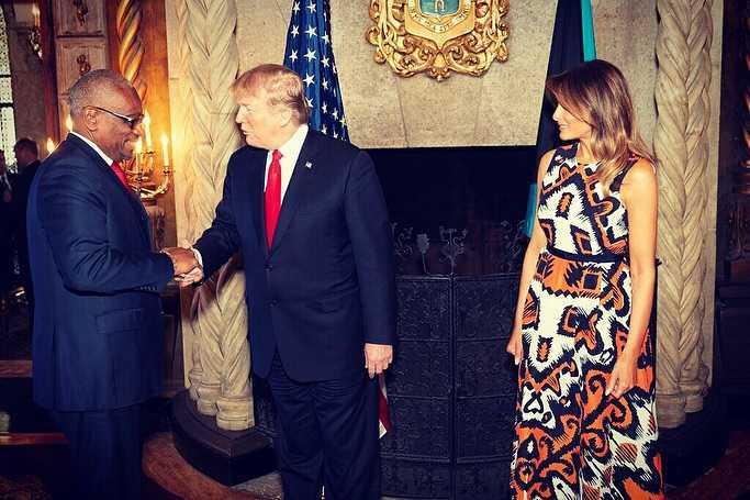 Melania Trump i Donald Trump na spotkaniu z karaibskimi politykami