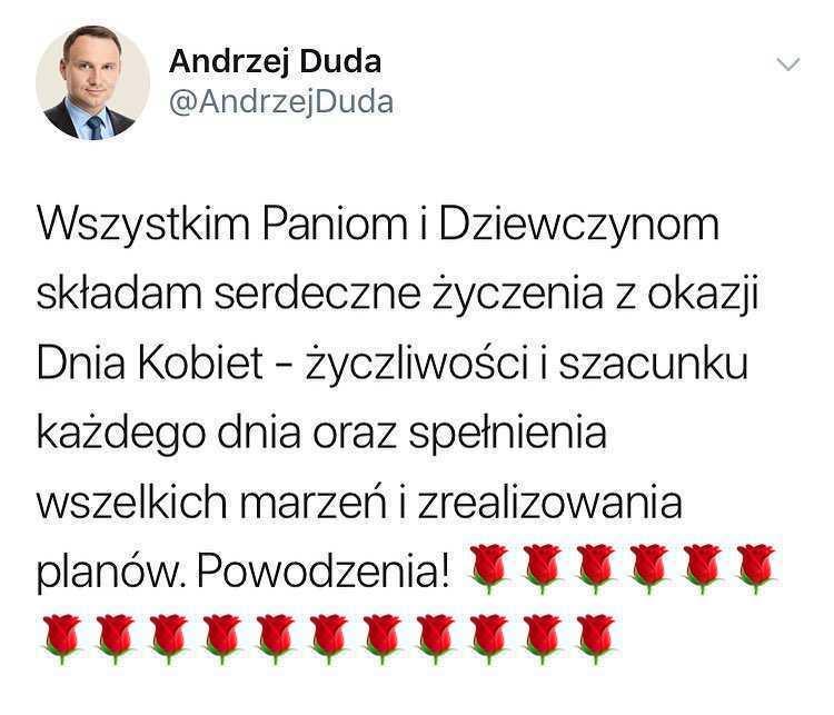 Andrzej Duda - życzenia z okazji Dnia Kobiet