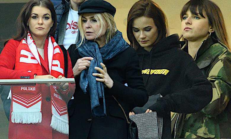 Gwiazdy podczas meczu Polski z Łotwą na Narodowym: Anna Lewandowska, Agnieszka Radwańska, Marina Olejnik