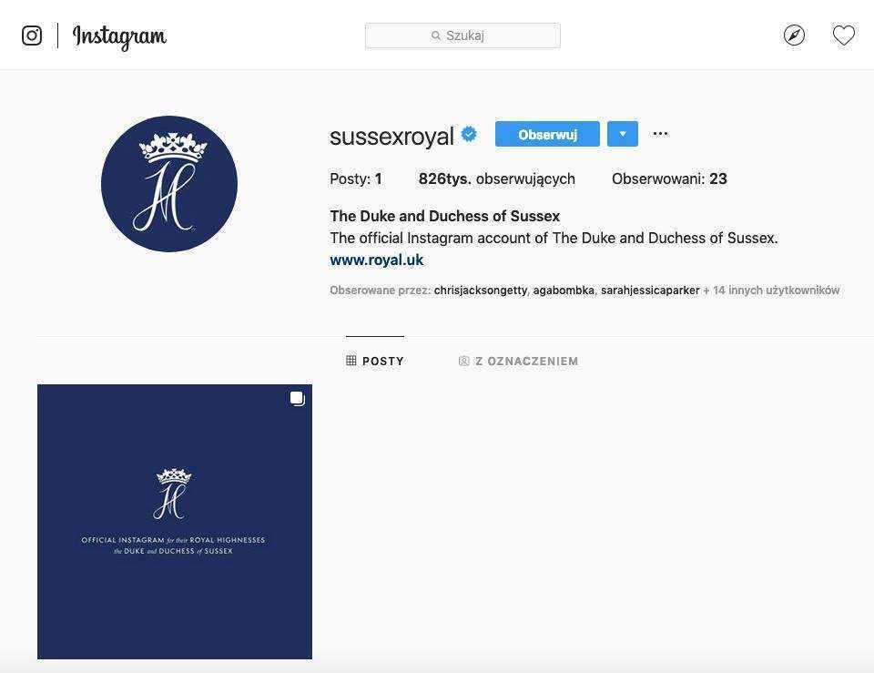 Meghan Markle i książę Harry – profil na Instagramie