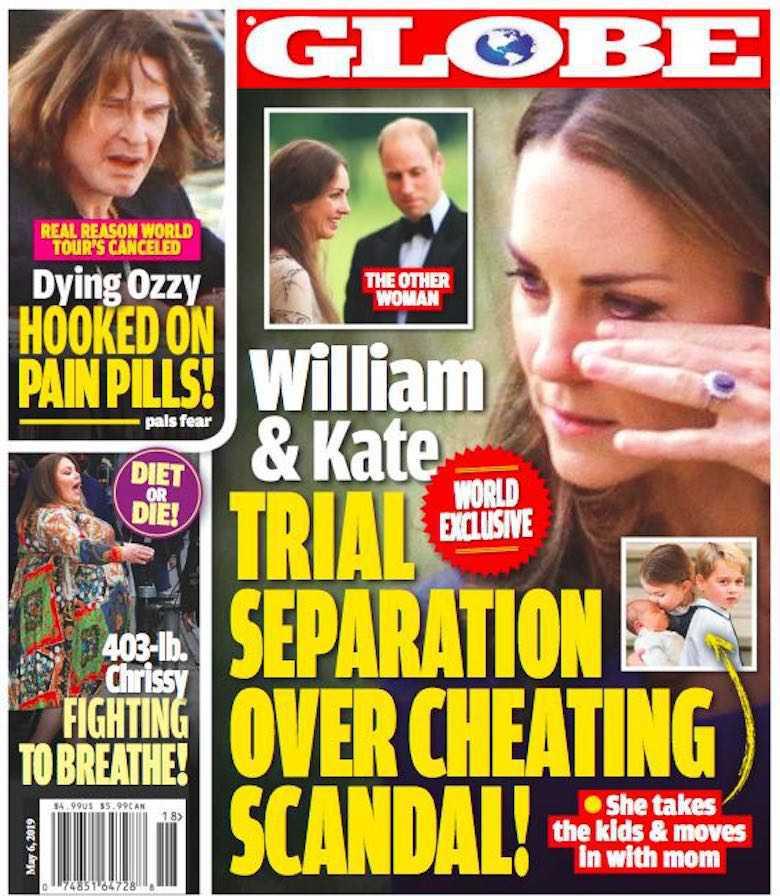 Księżna Kate wyprowadziła się od księcia Williama. Okładka Globe