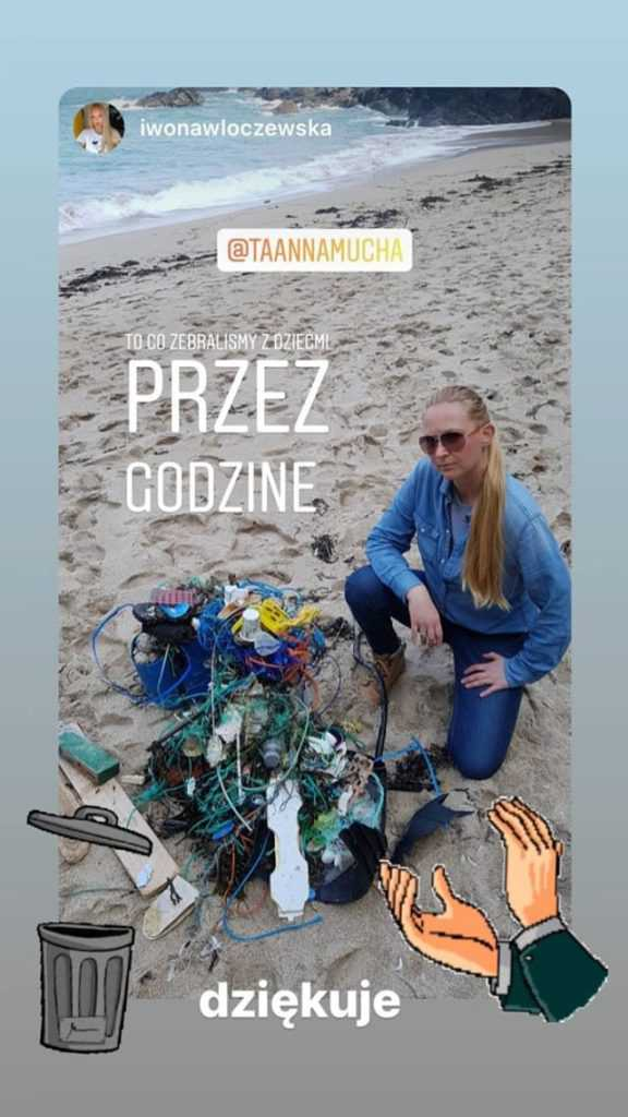 Anna Mucha - sprzątanie plaż