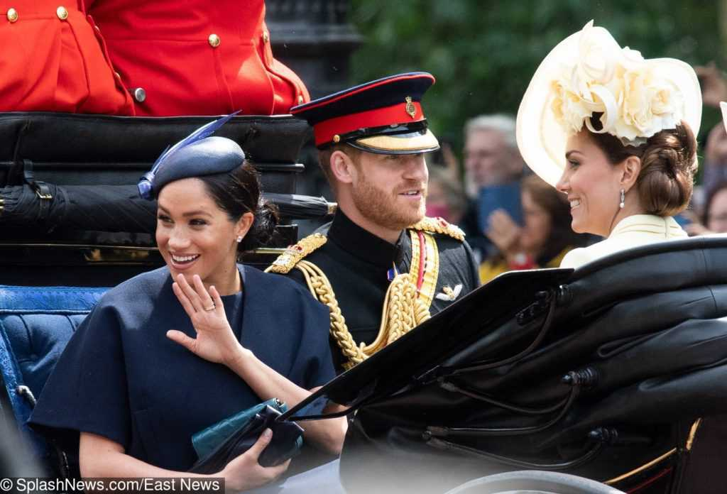 Meghan Markle, książę Harry i księżna Kate na Trooping the Colour 2019
