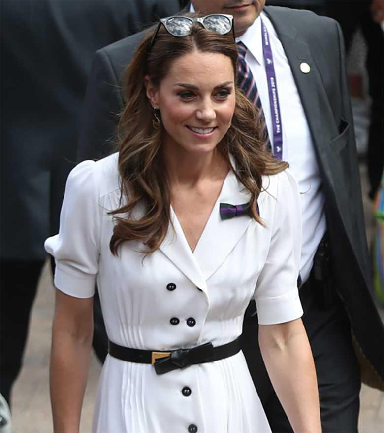 Księżna Kate - Wimbledon 2019, prosta sukienka