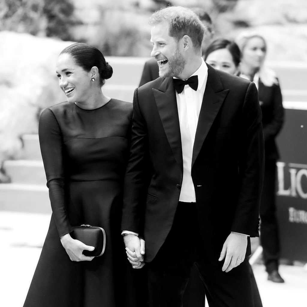 Meghan Markle i książę Harry na premierze filmu Król Lew