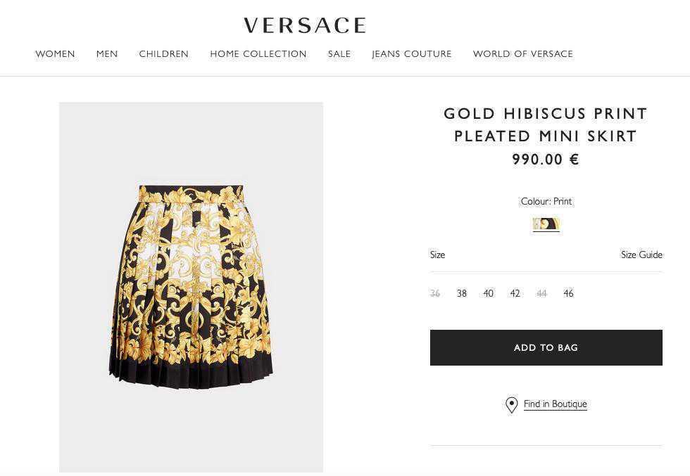 Spódnice Versace, którą ma Irina Shayk