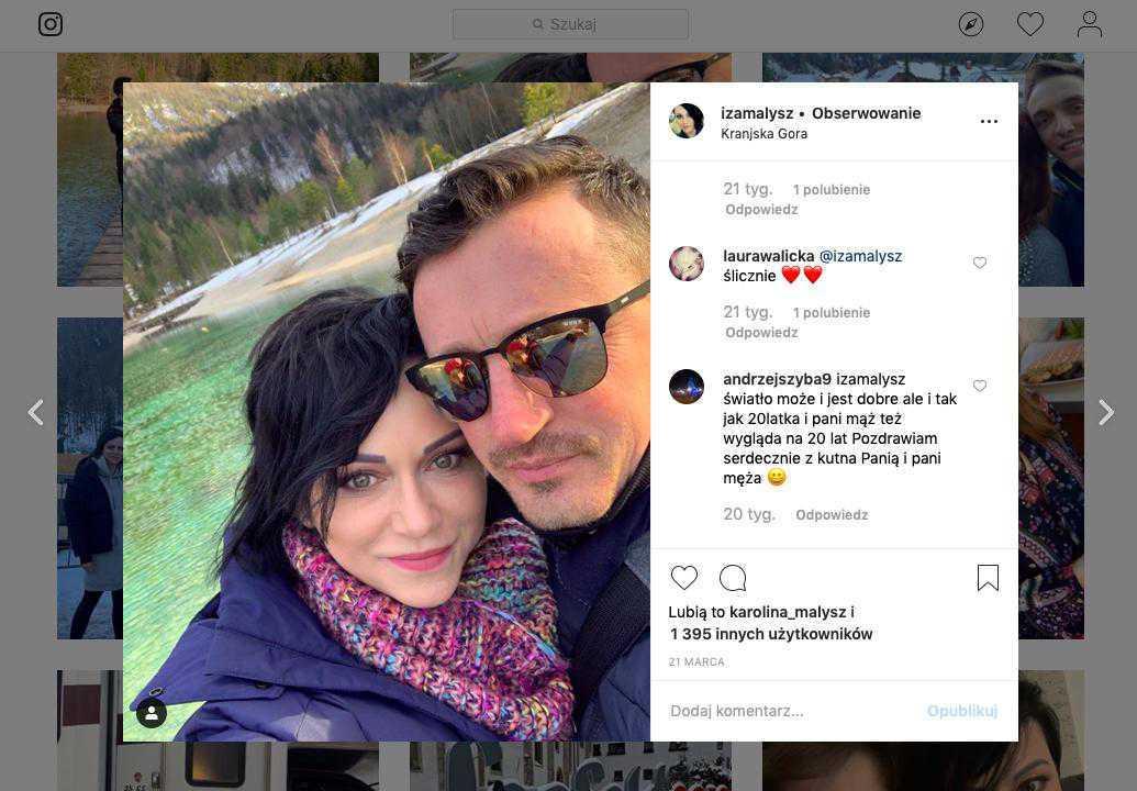 Żona Adama Małysza, Iza Małysz, na Instagramie