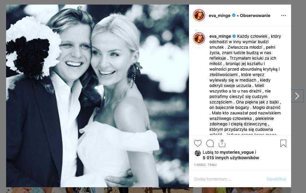 Ewa Minge – kondolencje po śmierci Woźniaka-Staraka