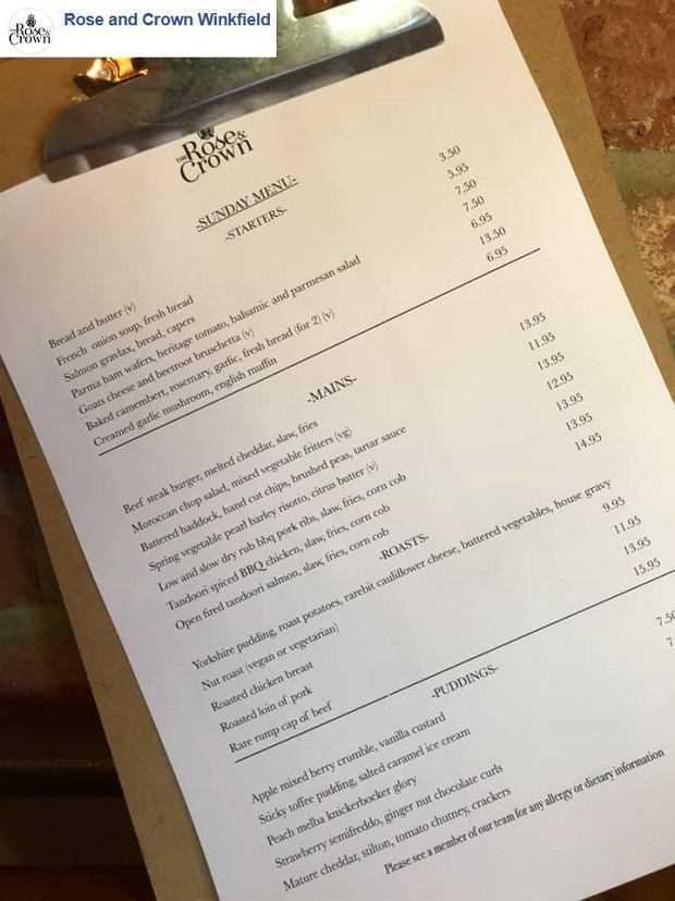 Menu restauracji Rose&Crown