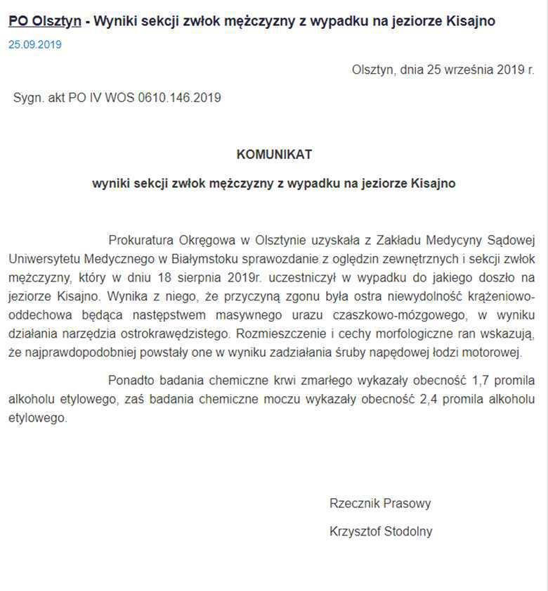 Prokuratura podała przyczyny śmierci Piotra Woźniaka-Staraka