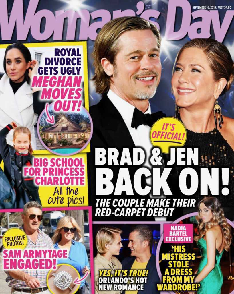 Brad Pitt i Jennifer Aniston na okładce Woman's Day