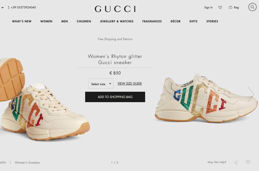 Buty Gucci za 850 euro