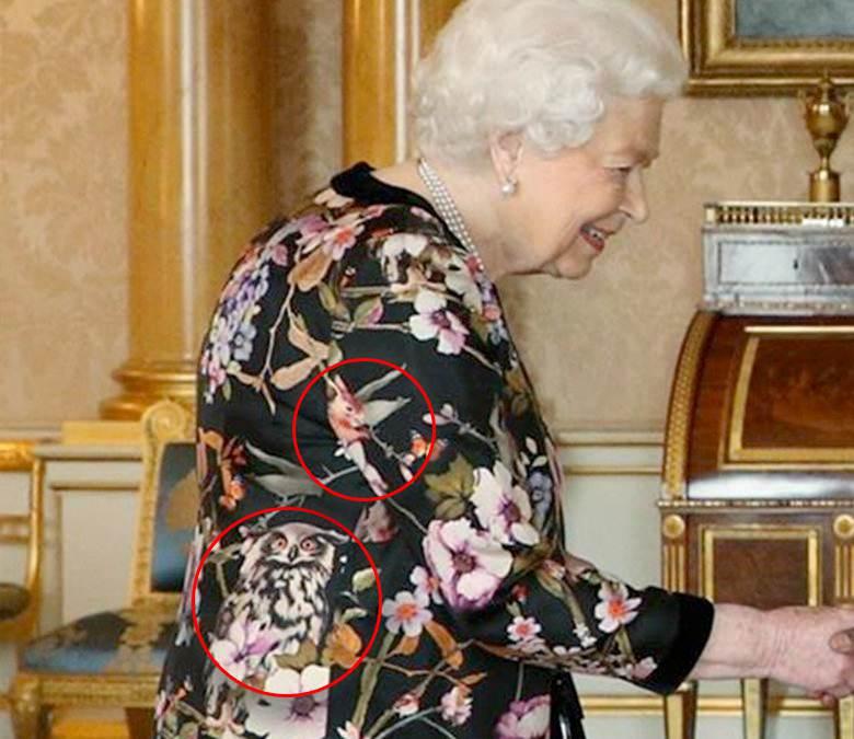 Wzory na sukni królowej Elżbiety II
