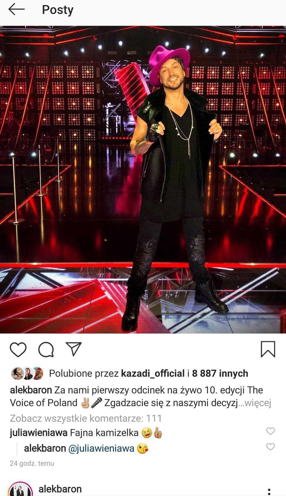 Komentarz Julii Wieniawy do stylizacji Barona
