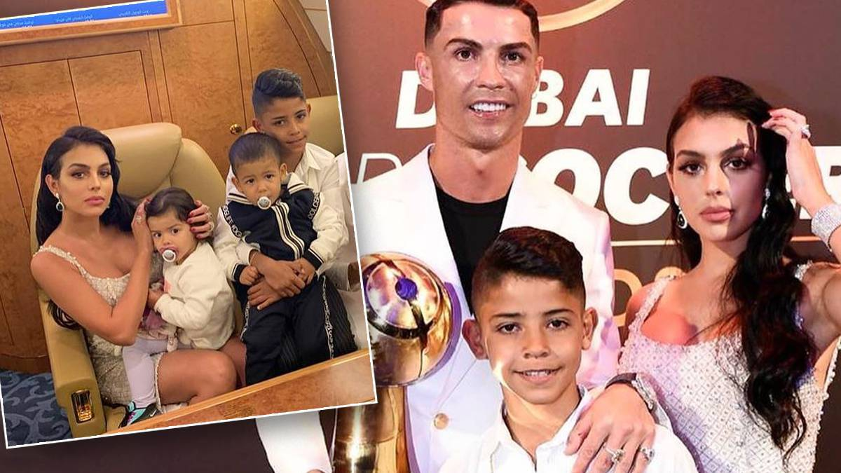 Cristiano Ronaldo i Georgina Rodriguez z dziećmi na gali
