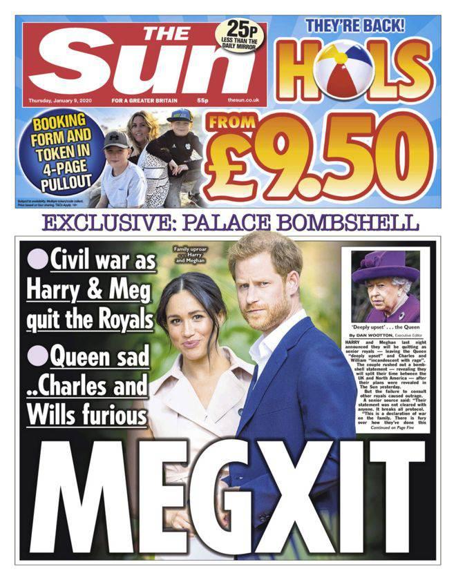 Meghan Markle i książę Harry na okładce The Sun