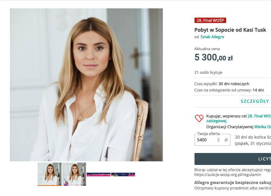 Kasia Tusk: aukcja WOŚP 2020
