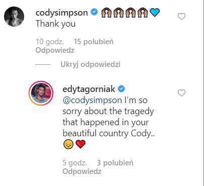 komentarz Cody'ego Simpsona na profilu Edyty Górniak