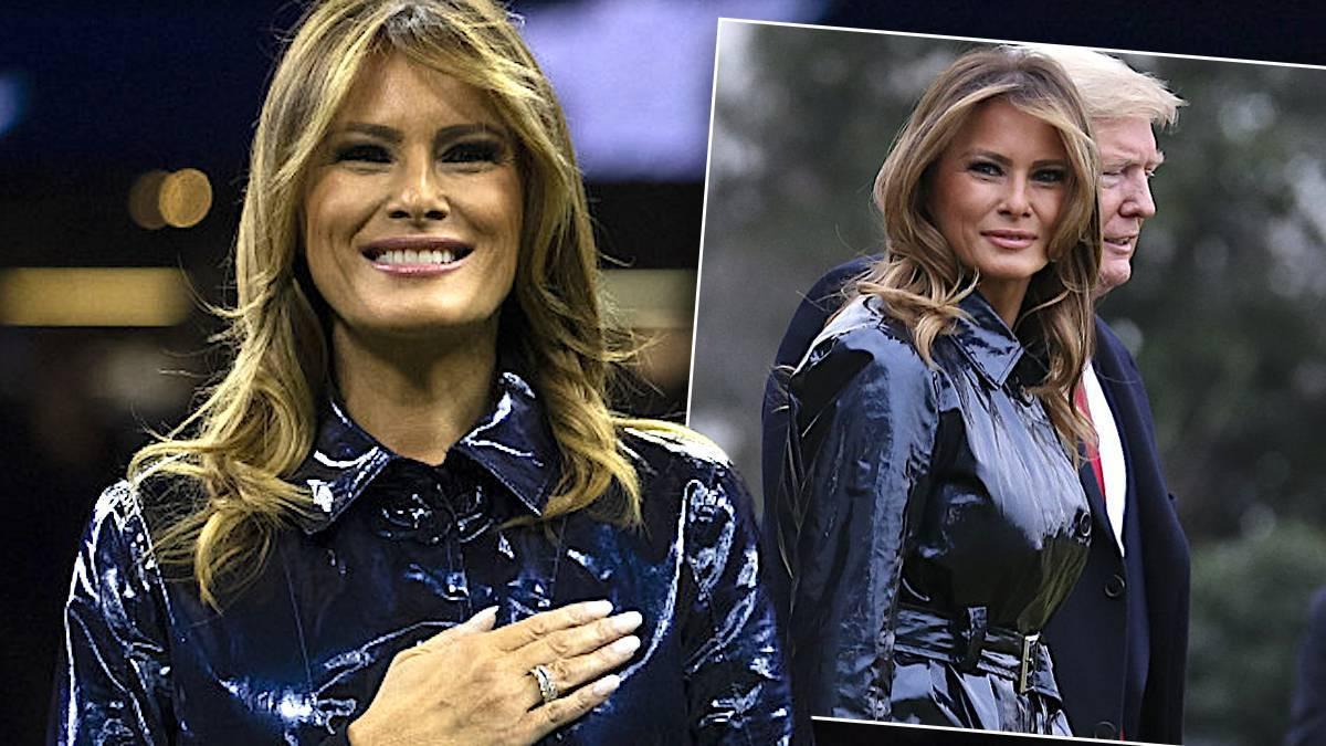 Melania Trump w lateksowym płaszczu