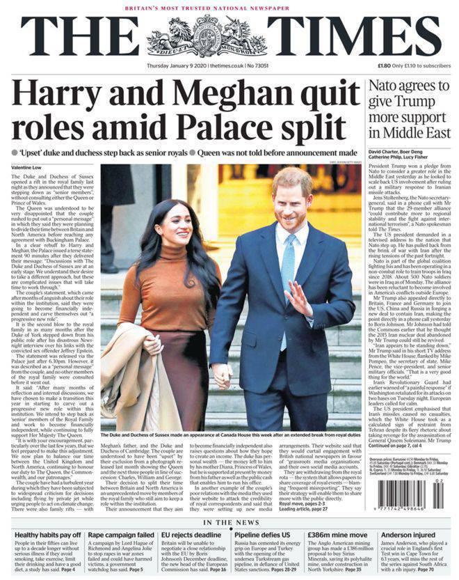 Meghan Markle i książę Harry na okładce Times