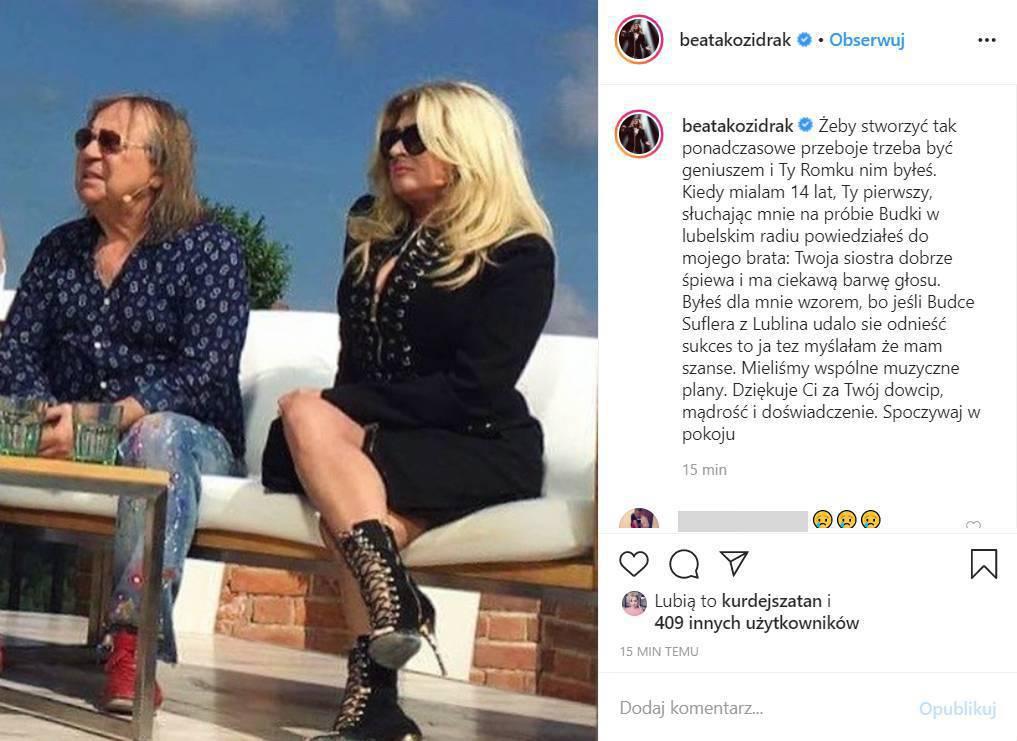 Beata Kozidrak - gwiazdy żegnają Romualda Lipko