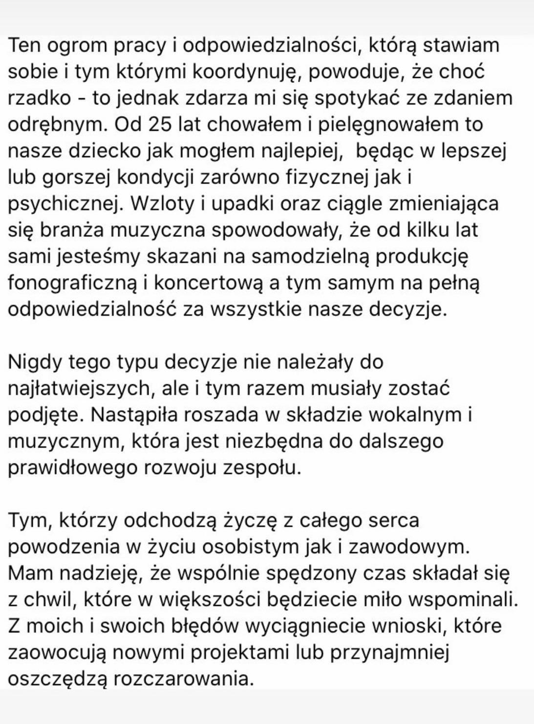 Michał Wiśniewski Oświadczenie