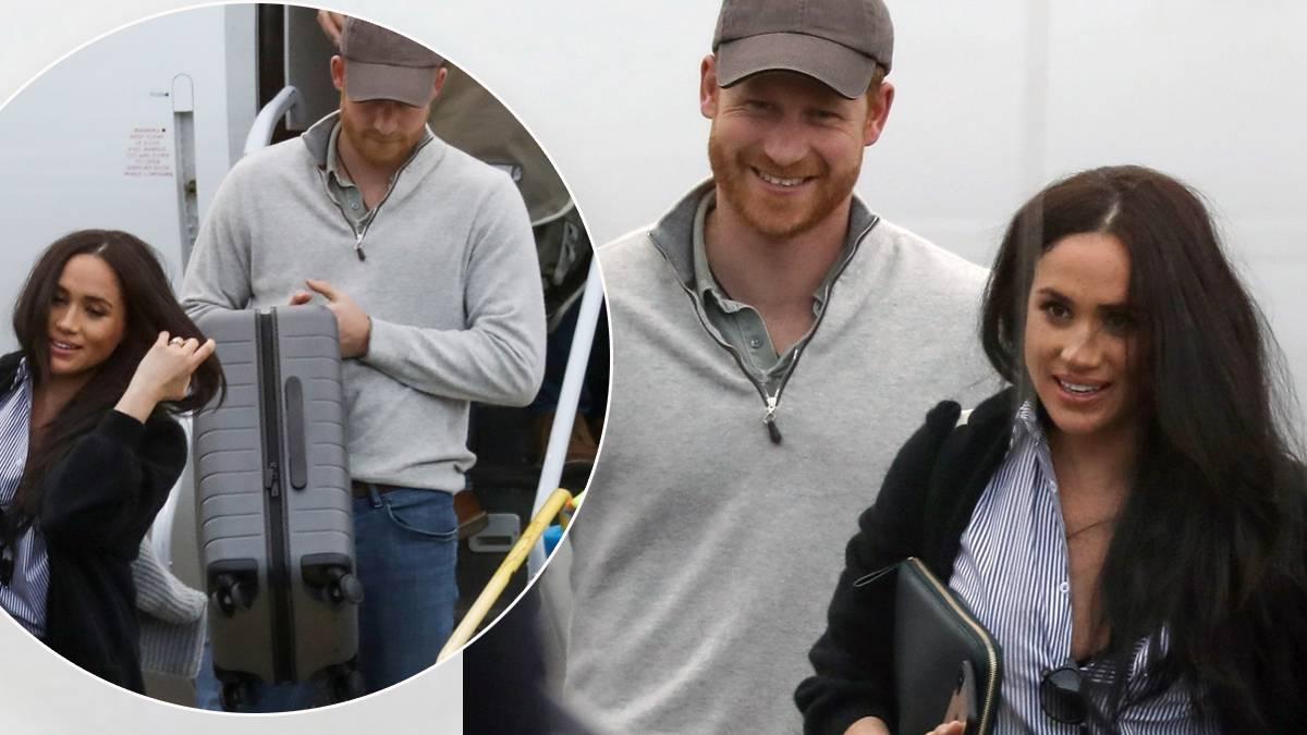 Meghan Markle i książę Harry na lotnisku w Kanadzie