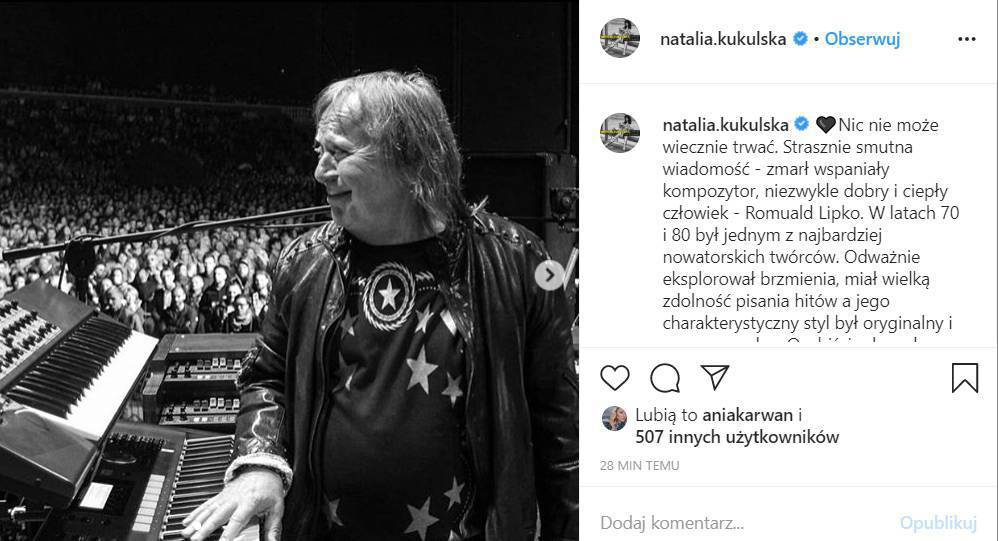 Natalia Kukulska - gwiazdy żegnają Romualda Lipko