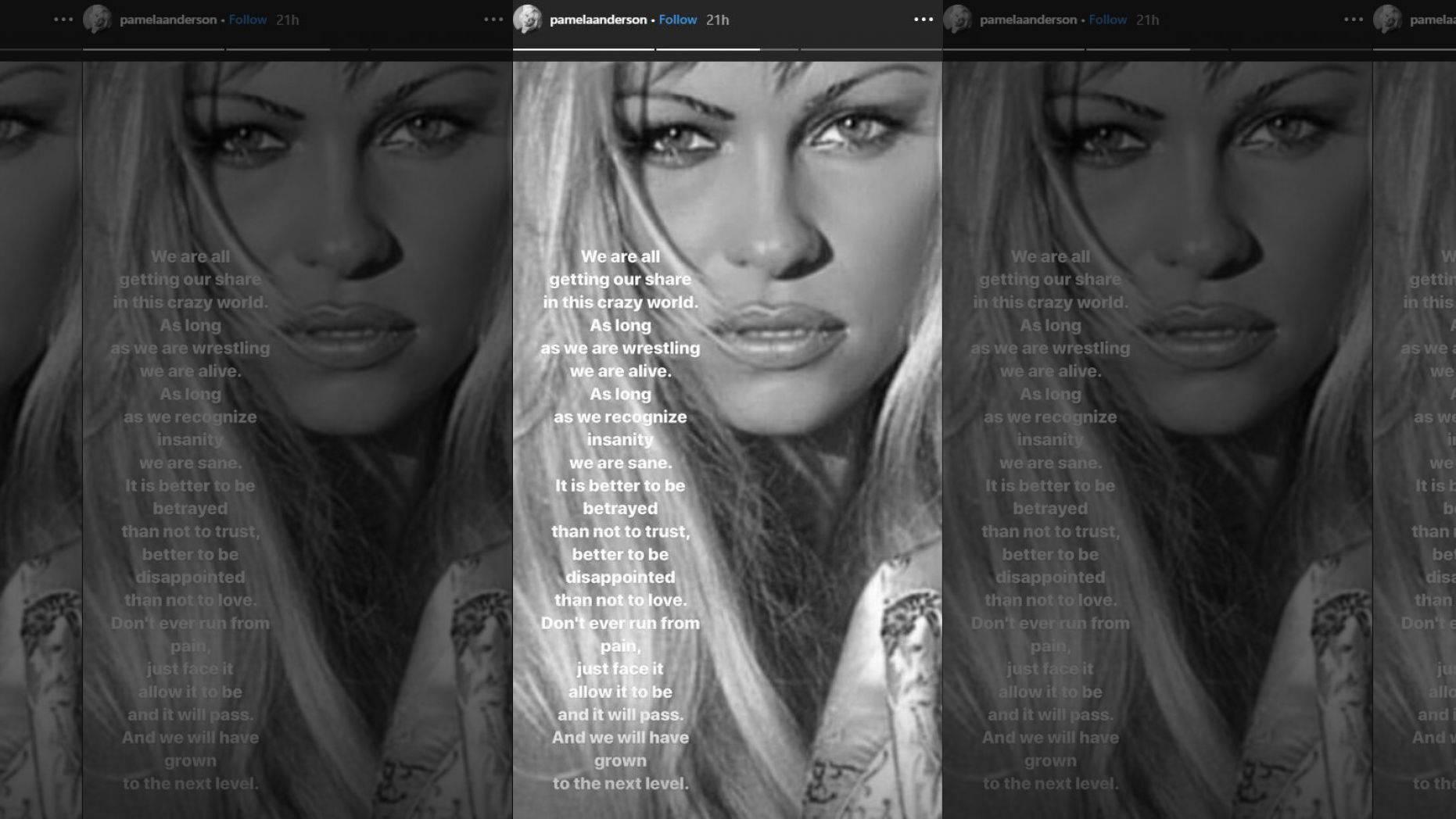 Pamela Anderson o rozstaniu na swoim instagramowym story