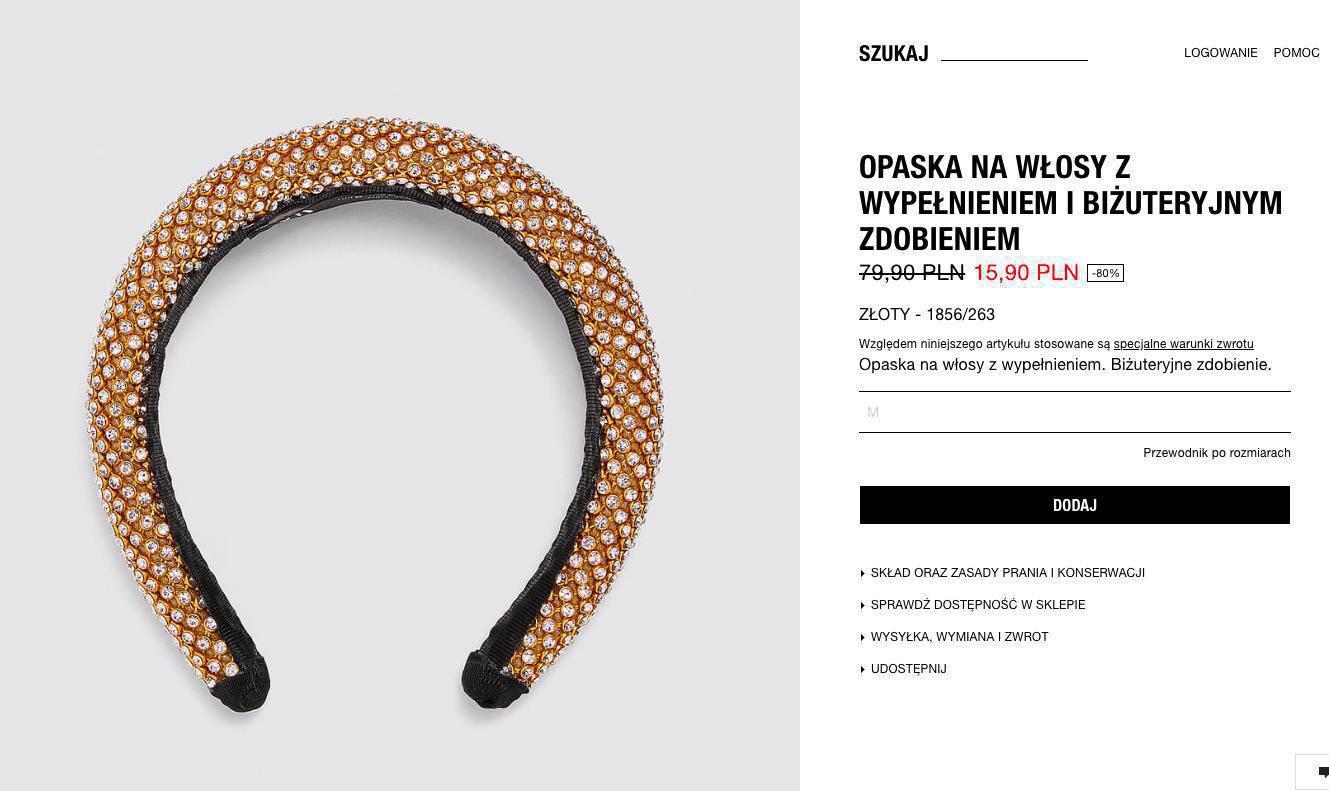Opaska w stylu księżniczki Beatrice, Zara.com