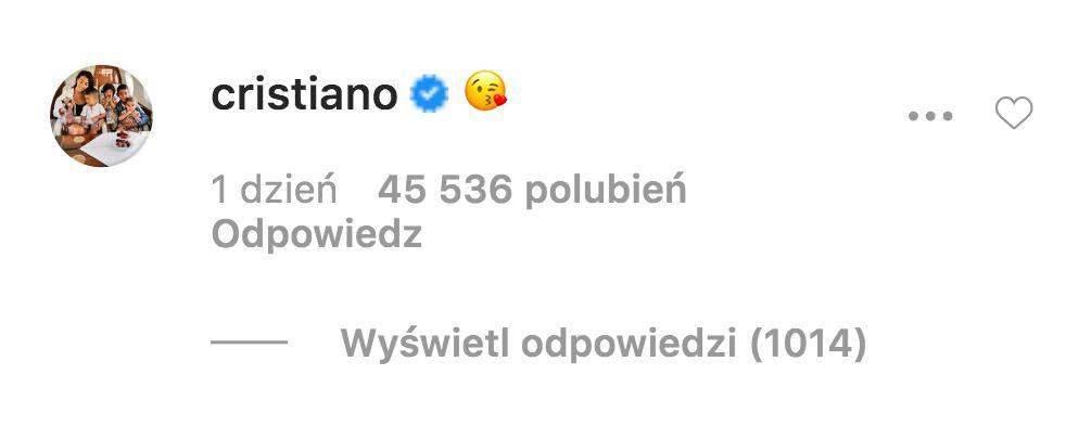 Cristiano Ronaldo komentuje pierwsze nagranie syna na Instagramie