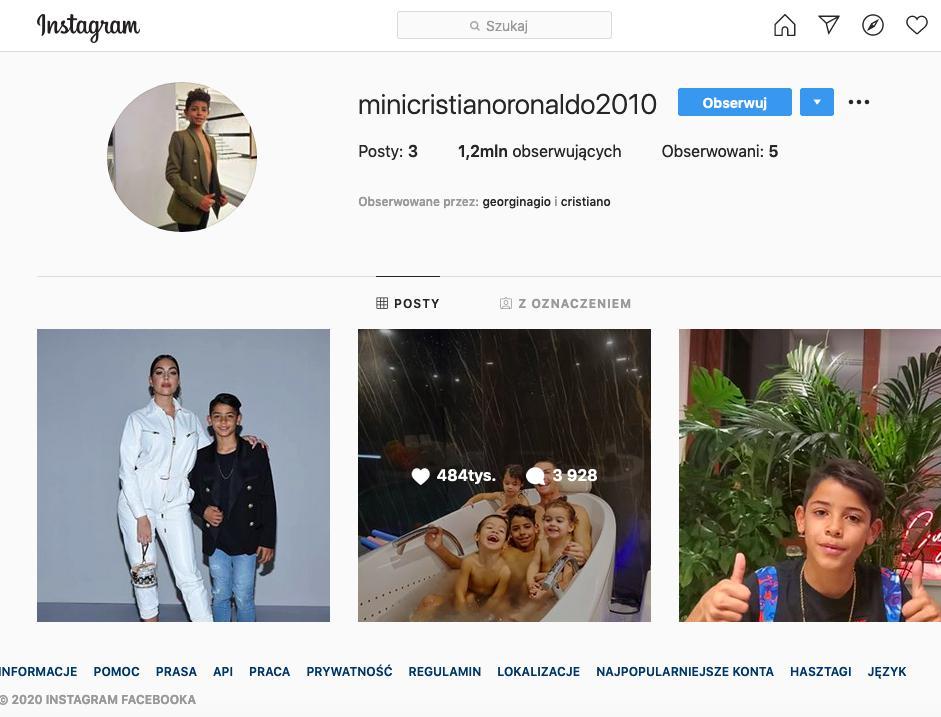 Syn Cristiano Ronaldo na Instagramie