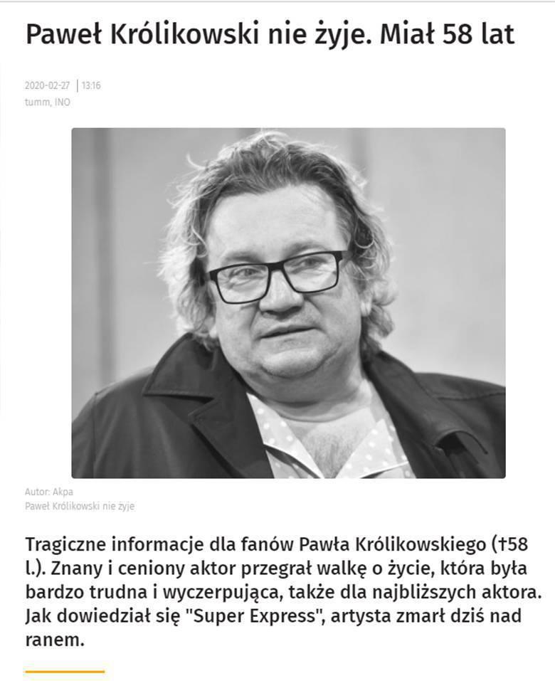 Paweł Królikowski nie żyje - informuje Super Express