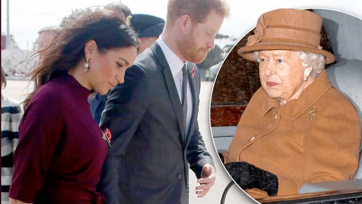 Meghan Markle i książę Harry, królowa Elżbieta II