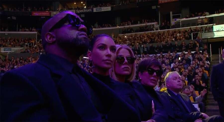 Kim Kradashian, Kanye West, Khloe Kardashian, Kris Jenner - pożegnanie Kobe Bryanta